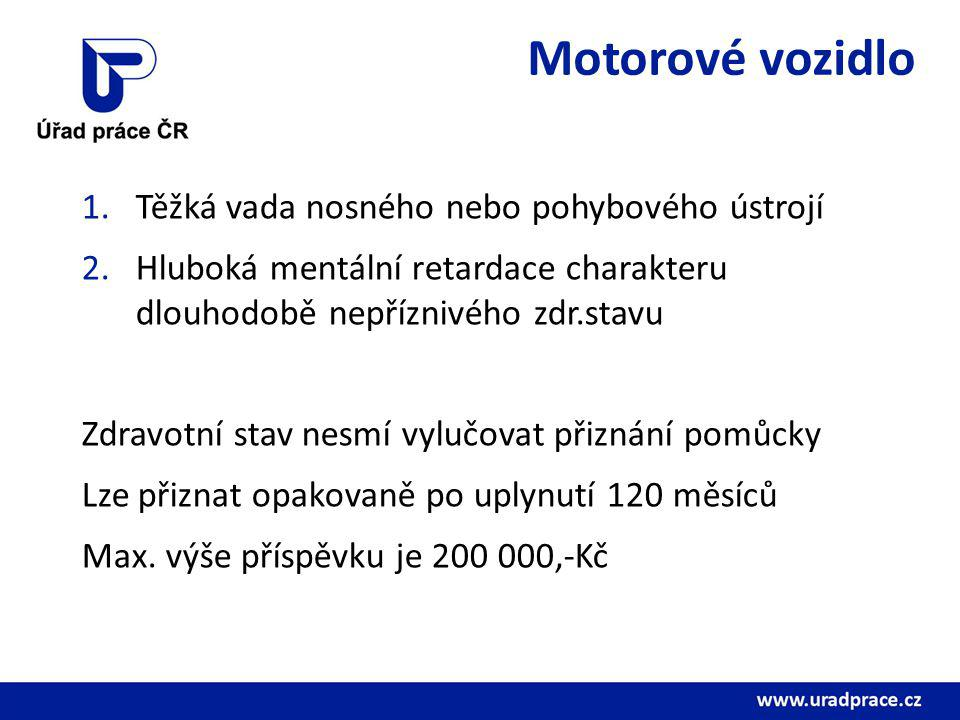 Motorové vozidlo 1.Těžká vada nosného nebo pohybového ústrojí 2.Hluboká mentální retardace charakteru dlouhodobě nepříznivého zdr.stavu Zdravotní stav