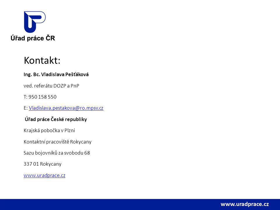 Kontakt: Ing. Bc. Vladislava Pešťáková ved. referátu DOZP a PnP T: 950 158 550 E: Vladislava.pestakova@ro.mpsv.czVladislava.pestakova@ro.mpsv.cz Úřad