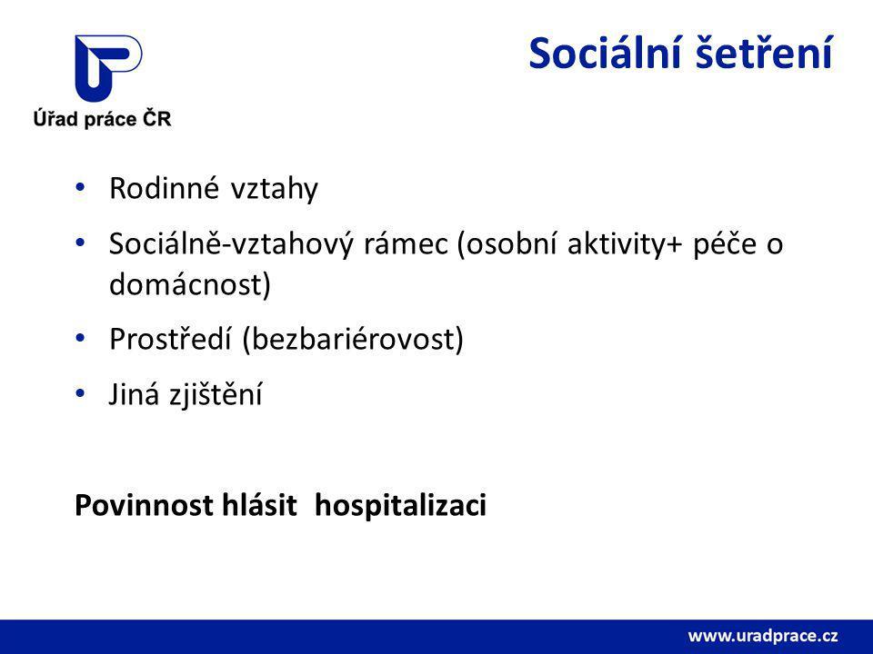 Sociální šetření Rodinné vztahy Sociálně-vztahový rámec (osobní aktivity+ péče o domácnost) Prostředí (bezbariérovost) Jiná zjištění Povinnost hlásit