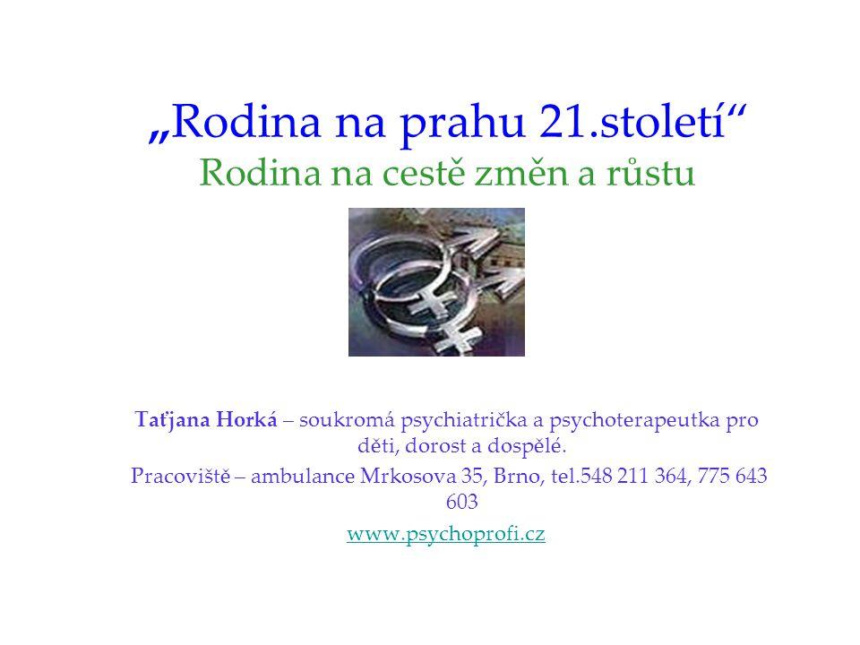 """""""Rodina na prahu 21.století Rodina na cestě změn a růstu Taťjana Horká – soukromá psychiatrička a psychoterapeutka pro děti, dorost a dospělé."""