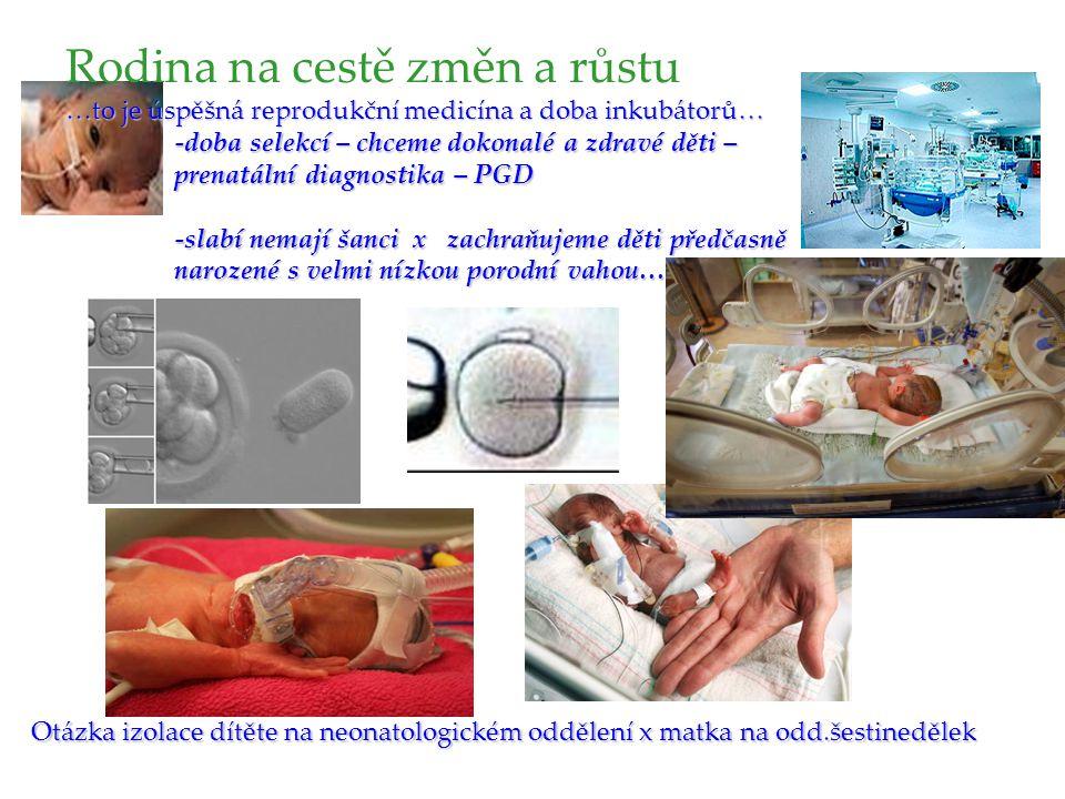 Otázka izolace dítěte na neonatologickém oddělení x matka na odd.šestinedělek Rodina na cestě změn a růstu …to je úspěšná reprodukční medicína a doba inkubátorů… -doba selekcí – chceme dokonalé a zdravé děti – prenatální diagnostika – PGD -slabí nemají šanci x zachraňujeme děti předčasně narozené s velmi nízkou porodní vahou….