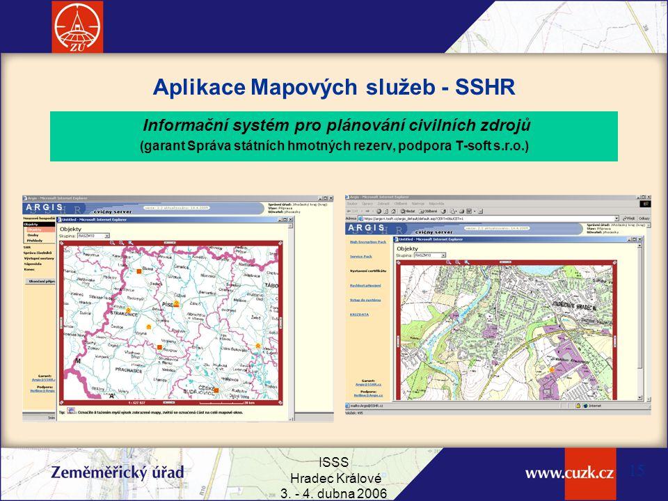 ISSS Hradec Králové 3. - 4. dubna 2006 15 Aplikace Mapových služeb - SSHR Informační systém pro plánování civilních zdrojů (garant Správa státních hmo