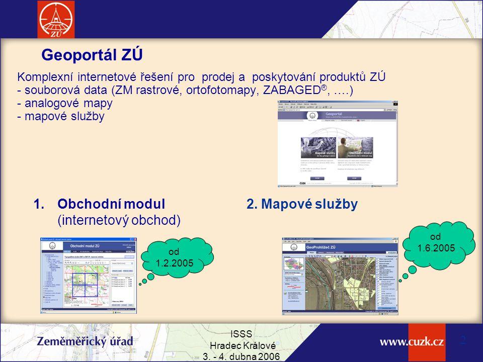 ISSS Hradec Králové 3. - 4. dubna 2006 2 Geoportál ZÚ Komplexní internetové řešení pro prodej a poskytování produktů ZÚ - souborová data (ZM rastrové,
