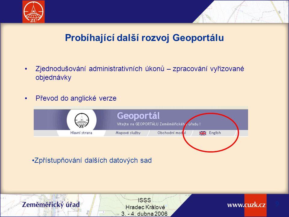 ISSS Hradec Králové 3. - 4. dubna 2006 9 Probíhající další rozvoj Geoportálu Zjednodušování administrativních úkonů – zpracování vyřizované objednávky