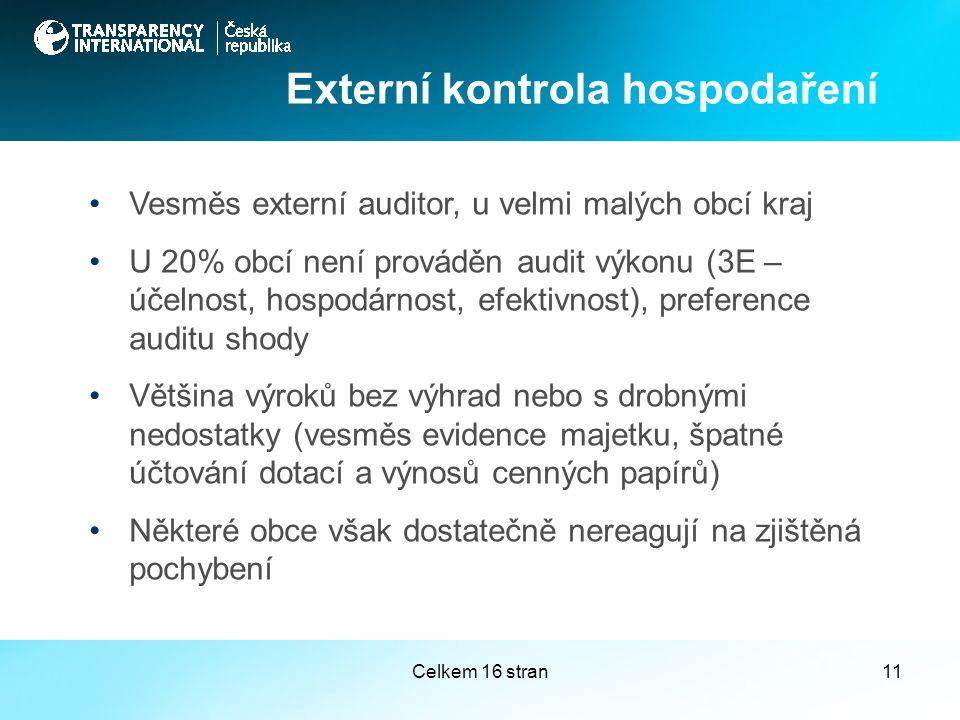 Celkem 16 stran11 Vesměs externí auditor, u velmi malých obcí kraj U 20% obcí není prováděn audit výkonu (3E – účelnost, hospodárnost, efektivnost), preference auditu shody Většina výroků bez výhrad nebo s drobnými nedostatky (vesměs evidence majetku, špatné účtování dotací a výnosů cenných papírů) Některé obce však dostatečně nereagují na zjištěná pochybení Externí kontrola hospodaření