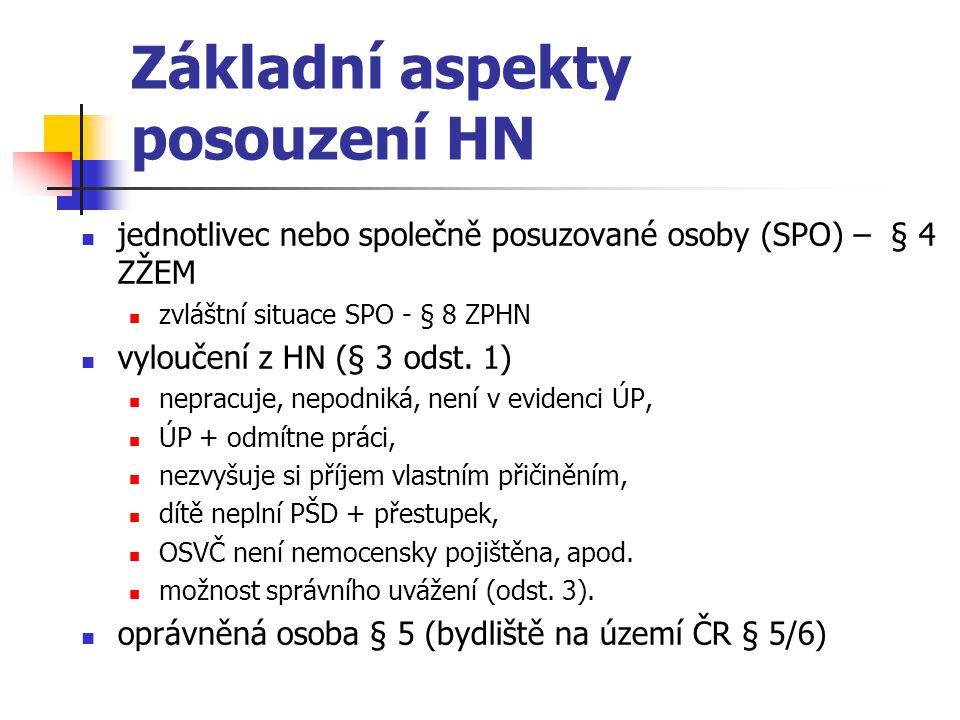 Základní aspekty posouzení HN jednotlivec nebo společně posuzované osoby (SPO) – § 4 ZŽEM zvláštní situace SPO - § 8 ZPHN vyloučení z HN (§ 3 odst. 1)