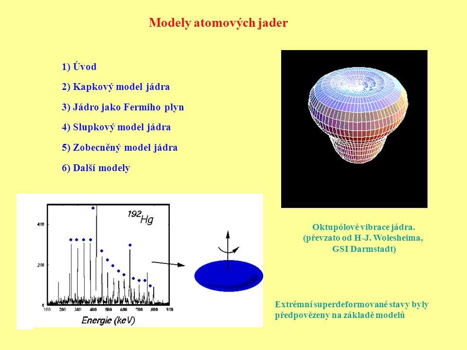 Modely atomových jader 1) Úvod 2) Kapkový model jádra 3) Jádro jako Fermiho plyn 4) Slupkový model jádra 5) Zobecněný model jádra 6) Další modely Oktupólové vibrace jádra.