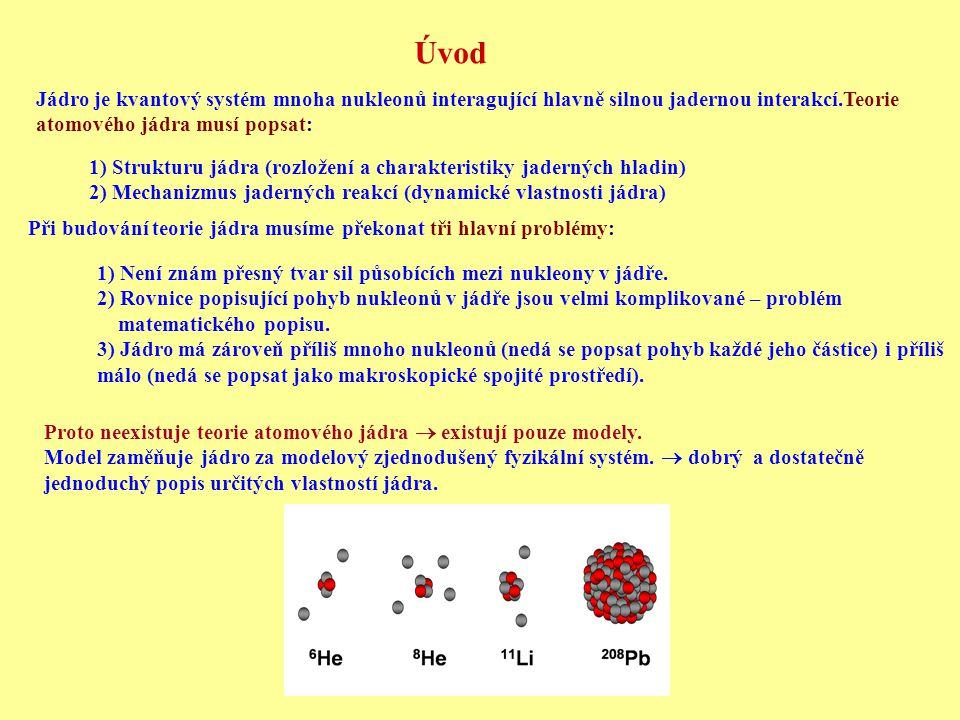 Úvod Jádro je kvantový systém mnoha nukleonů interagující hlavně silnou jadernou interakcí.Teorie atomového jádra musí popsat: 1) Strukturu jádra (roz