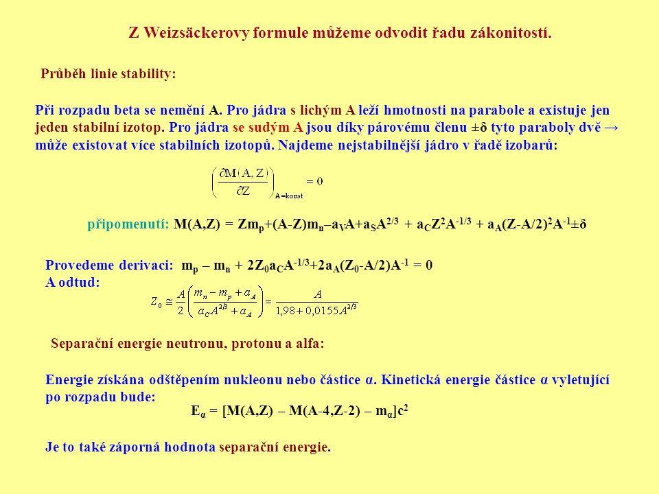 Průběh linie stability: Při rozpadu beta se nemění A. Pro jádra s lichým A leží hmotnosti na parabole a existuje jen jeden stabilní izotop. Pro jádra