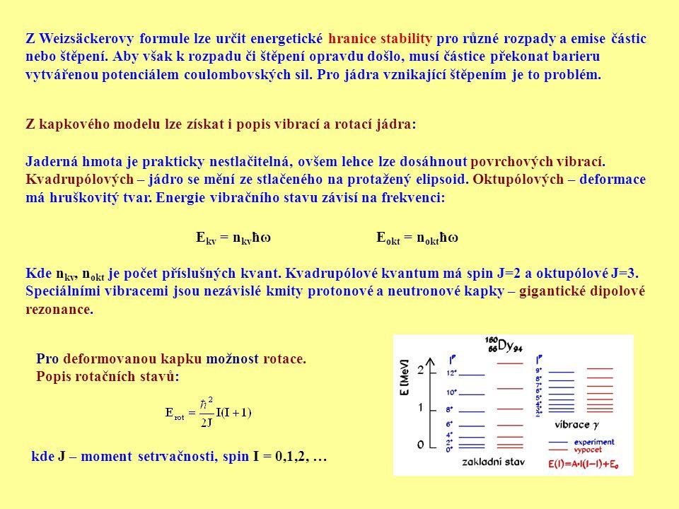 Jádro jako fermionový plyn Nukleony jsou fermiony (mají spin 1/2).