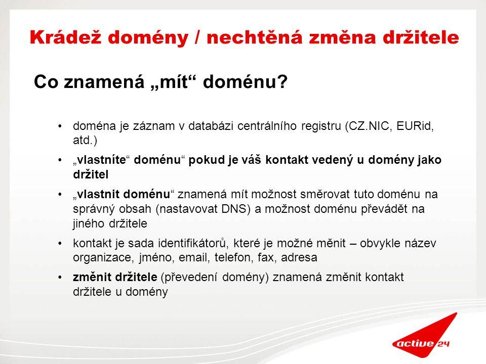 VAŠE DOMÉNA databáze kontaktů databáze doménových jmen... databáze NSSETů