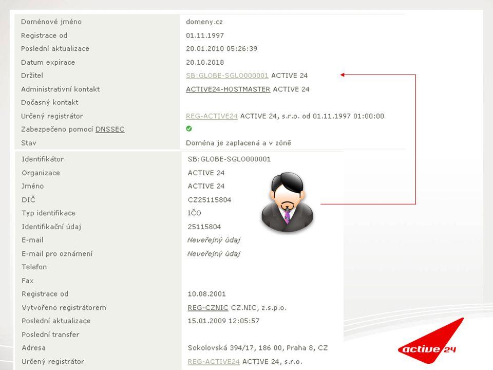 ACTIVE 24 zákaznický účet CZ.NIC kontakt