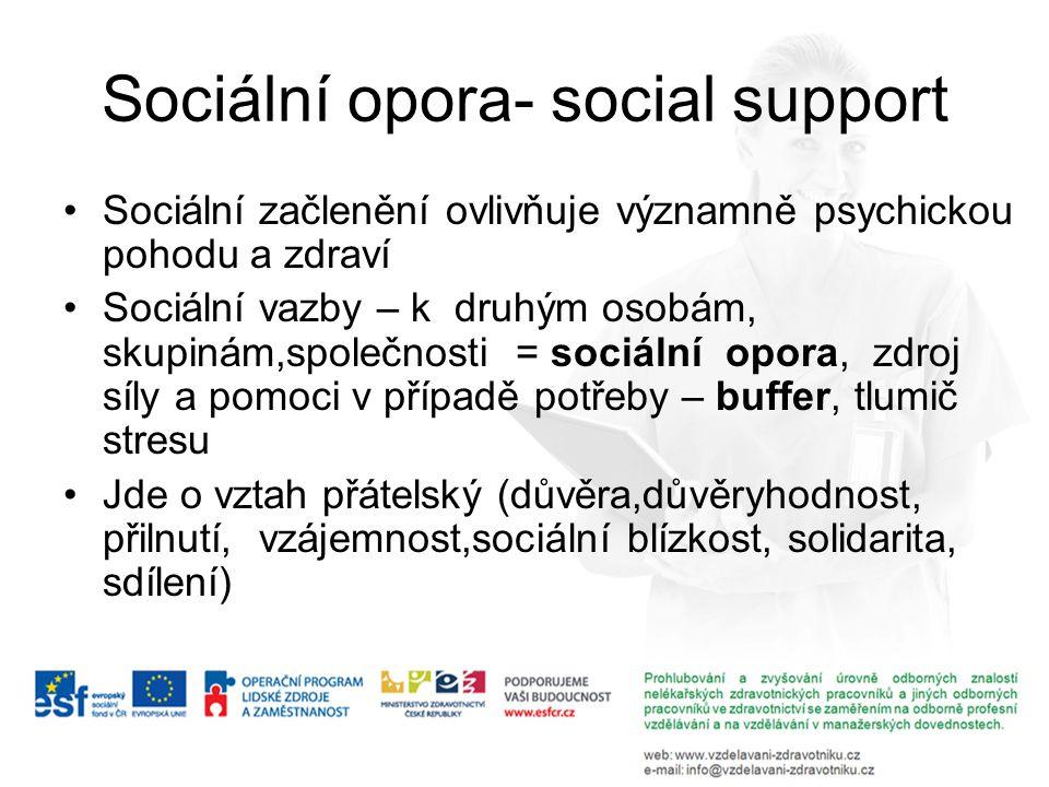 Sociální opora- social support Sociální začlenění ovlivňuje významně psychickou pohodu a zdraví Sociální vazby – k druhým osobám, skupinám,společnosti