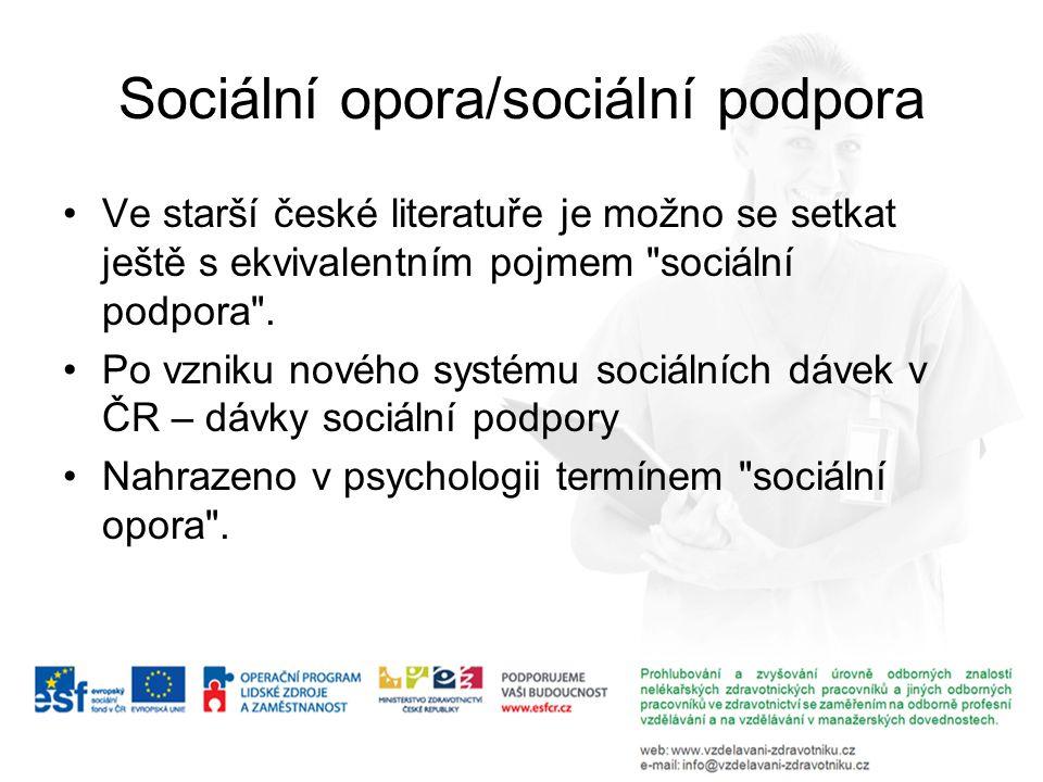 Sociální opora/sociální podpora Ve starší české literatuře je možno se setkat ještě s ekvivalentním pojmem