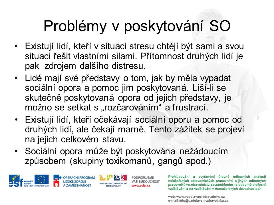 Problémy v poskytování SO Existují lidí, kteří v situaci stresu chtějí být sami a svou situaci řešit vlastními silami. Přítomnost druhých lidí je pak