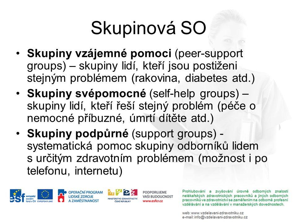 Skupinová SO Skupiny vzájemné pomoci (peer-support groups) – skupiny lidí, kteří jsou postiženi stejným problémem (rakovina, diabetes atd.) Skupiny sv