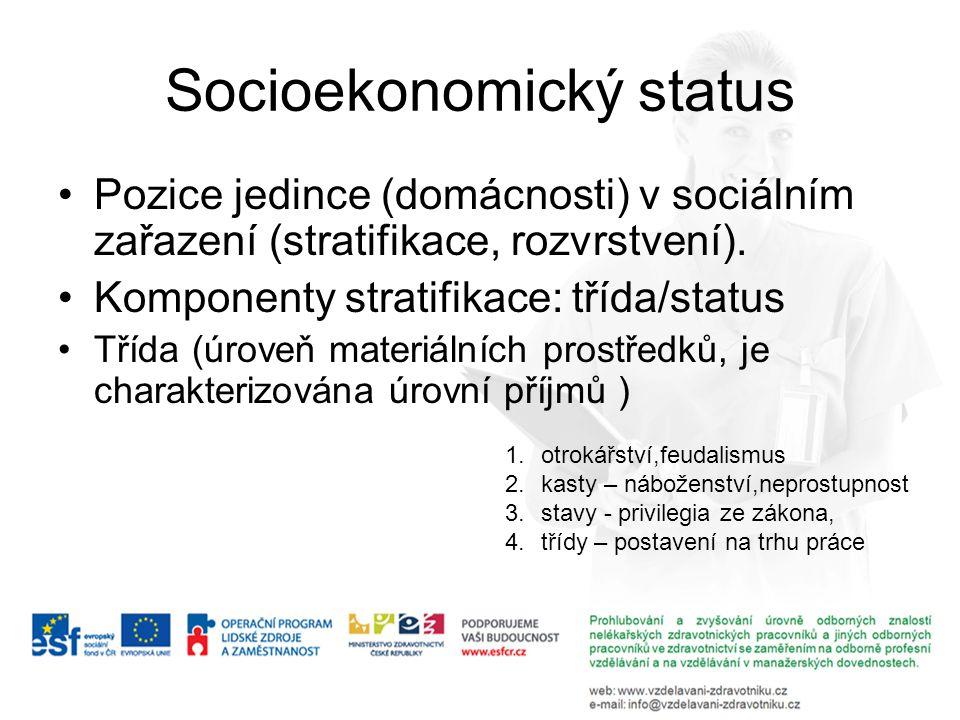 Socioekonomický status Pozice jedince (domácnosti) v sociálním zařazení (stratifikace, rozvrstvení). Komponenty stratifikace: třída/status Třída (úrov