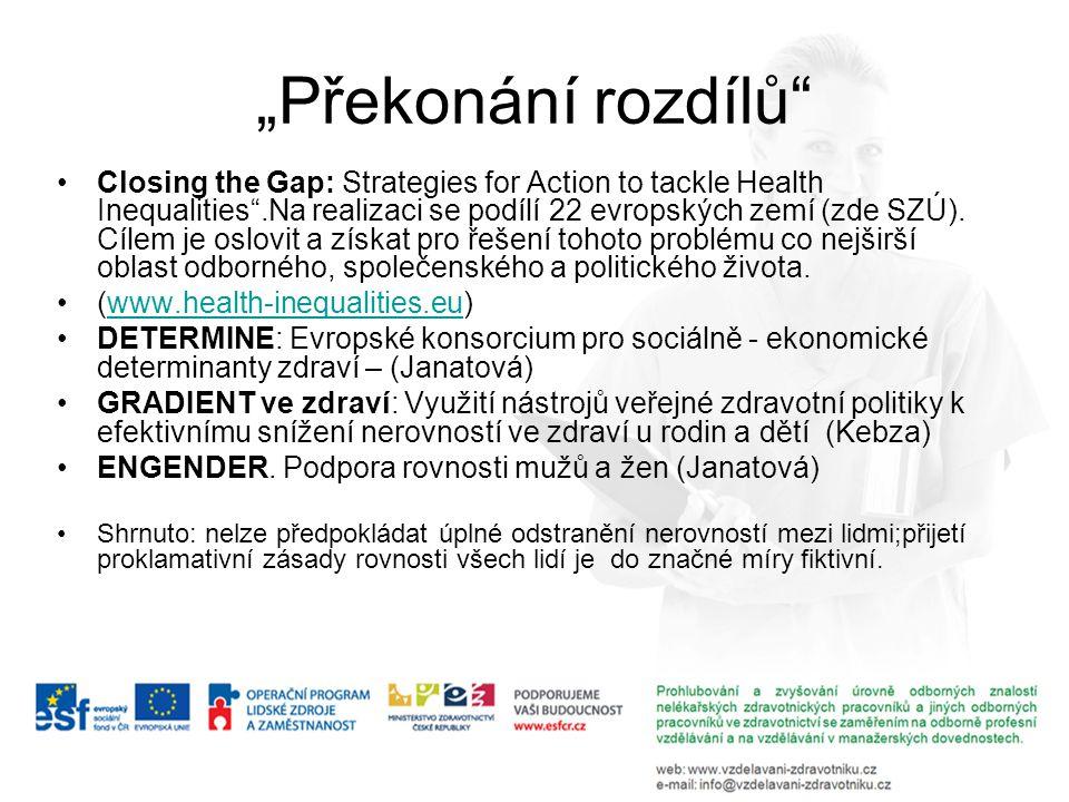 """""""Překonání rozdílů"""" Closing the Gap: Strategies for Action to tackle Health Inequalities"""".Na realizaci se podílí 22 evropských zemí (zde SZÚ). Cílem j"""