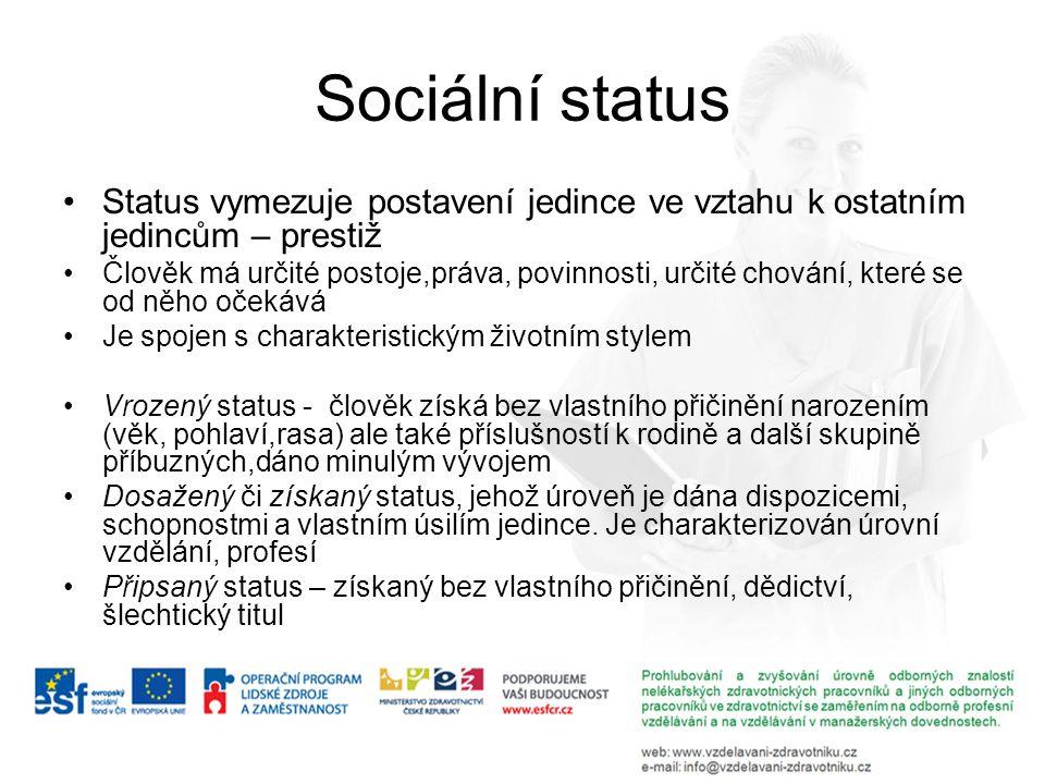 Sociální status Status vymezuje postavení jedince ve vztahu k ostatním jedincům – prestiž Člověk má určité postoje,práva, povinnosti, určité chování,