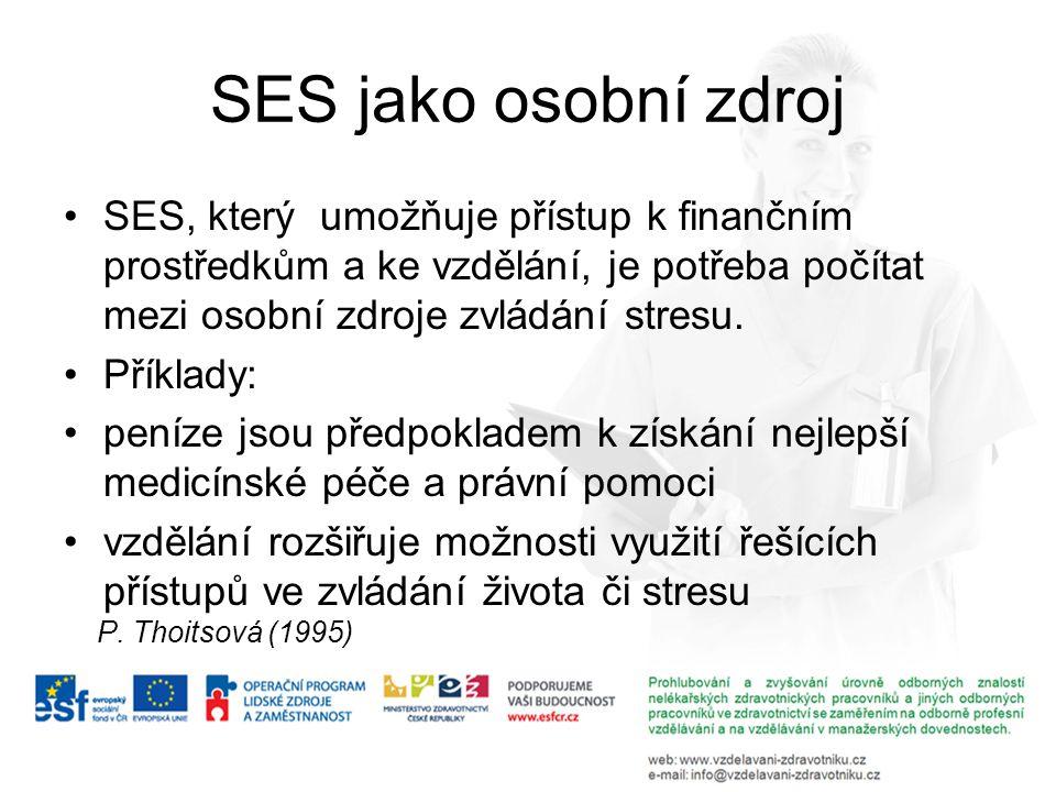 SES jako osobní zdroj SES, který umožňuje přístup k finančním prostředkům a ke vzdělání, je potřeba počítat mezi osobní zdroje zvládání stresu. Příkla