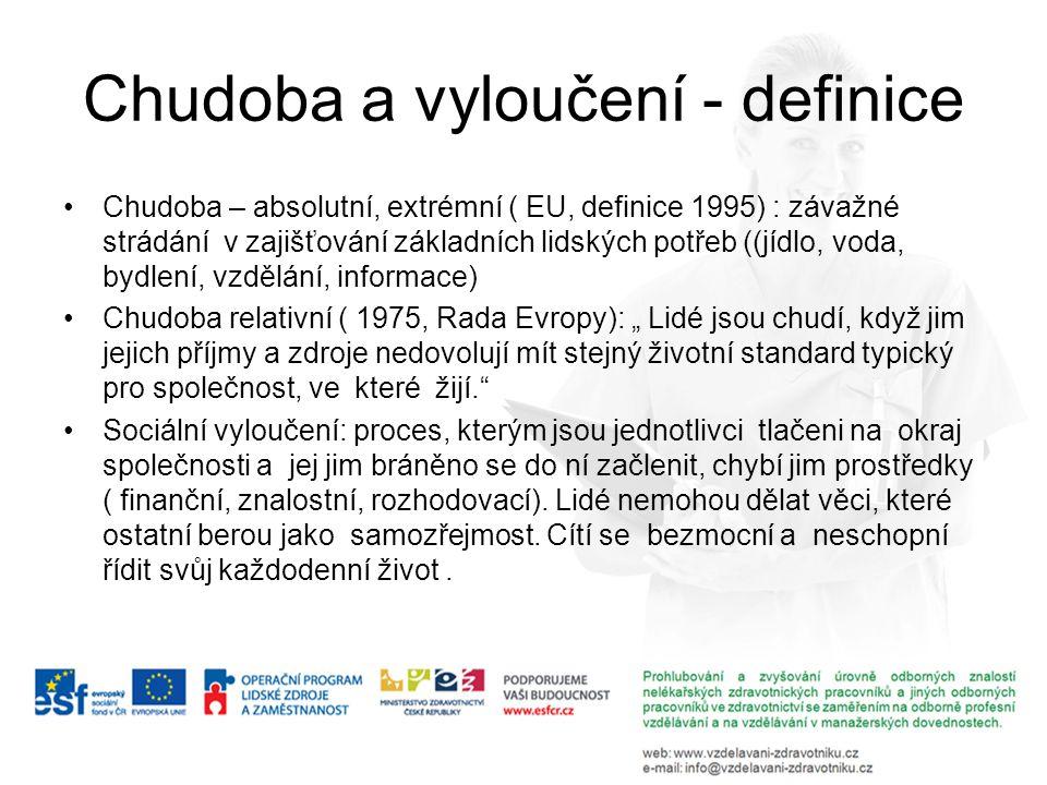 Chudoba a vyloučení - definice Chudoba – absolutní, extrémní ( EU, definice 1995) : závažné strádání v zajišťování základních lidských potřeb ((jídlo,