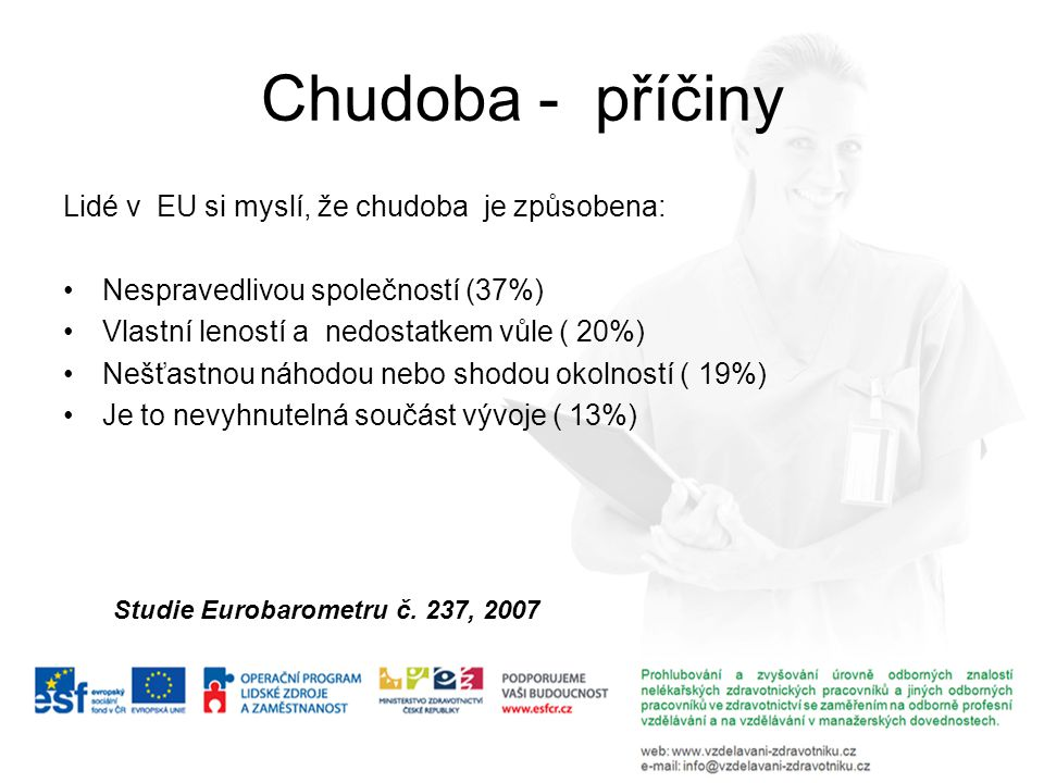 Chudoba - příčiny Lidé v EU si myslí, že chudoba je způsobena: Nespravedlivou společností (37%) Vlastní leností a nedostatkem vůle ( 20%) Nešťastnou n