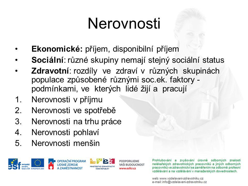 Nerovnosti Ekonomické: příjem, disponibilní příjem Sociální: různé skupiny nemají stejný sociální status Zdravotní: rozdíly ve zdraví v různých skupin