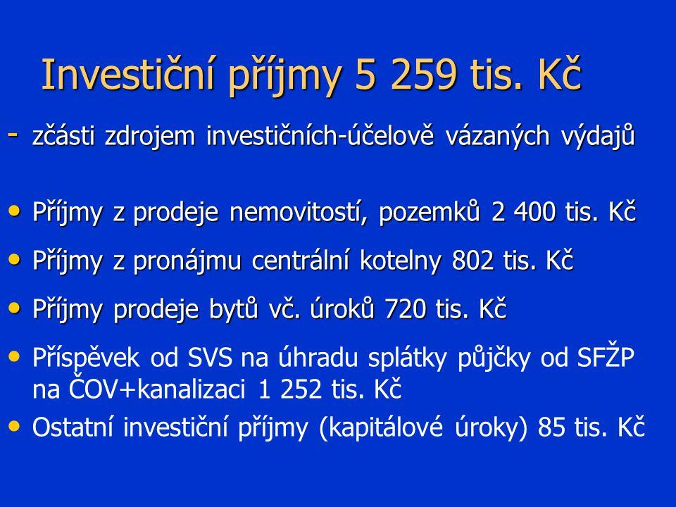 Investiční příjmy 5 259 tis.
