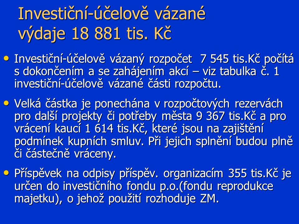 Investiční-účelově vázané výdaje 18 881 tis.