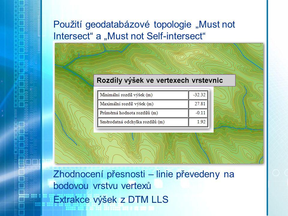"""Použití geodatabázové topologie """"Must not Intersect"""" a """"Must not Self-intersect"""" Zhodnocení přesnosti – linie převedeny na bodovou vrstvu vertexů Extr"""