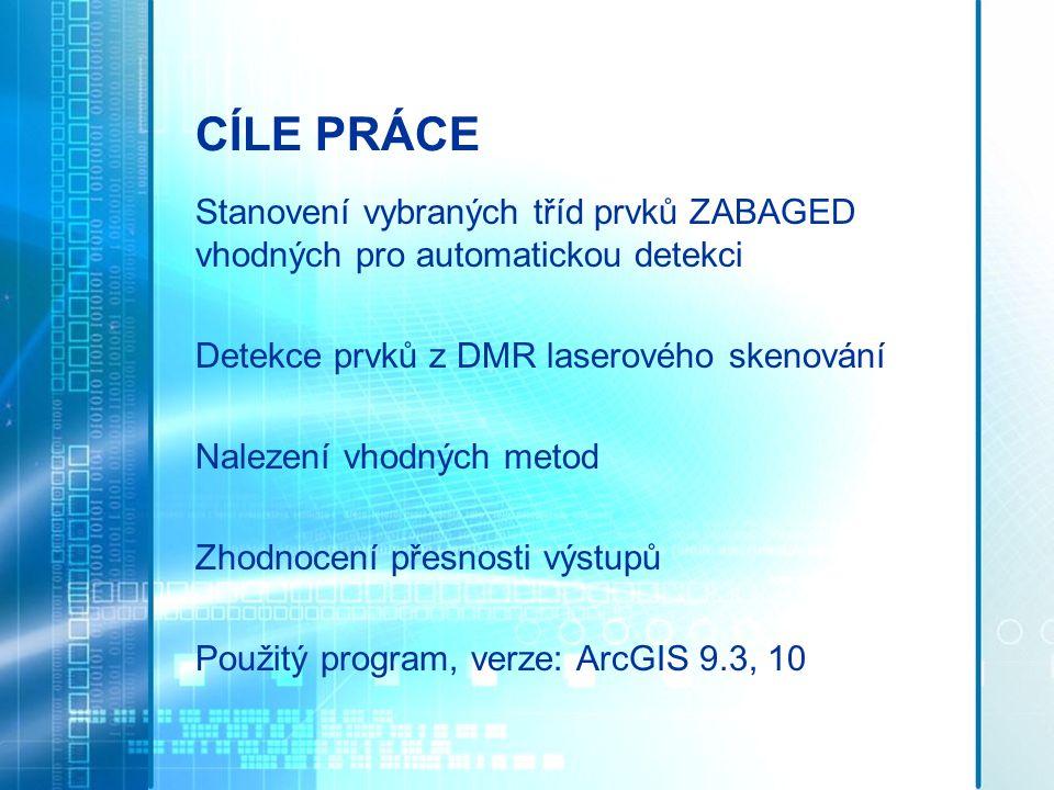 CÍLE PRÁCE Stanovení vybraných tříd prvků ZABAGED vhodných pro automatickou detekci Detekce prvků z DMR laserového skenování Nalezení vhodných metod Z