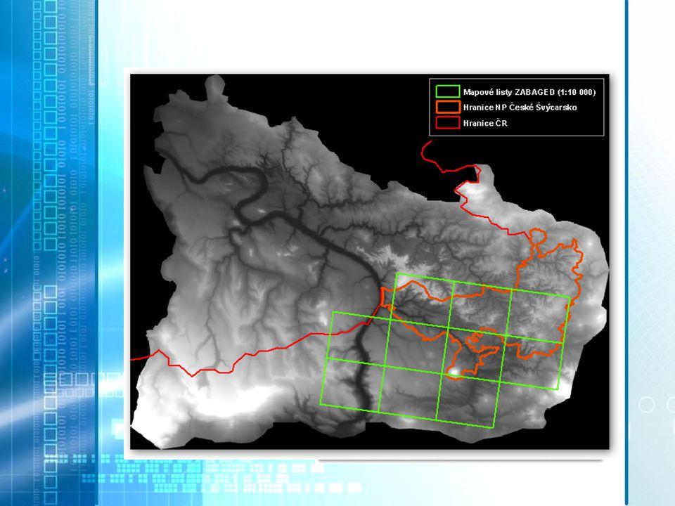 VSTUPNÍ DATA Data laserového skenování pro oblast NP České Švýcarsko  Výřez z plochy národního parku Vrstvy ZABAGED .shp  ZM10