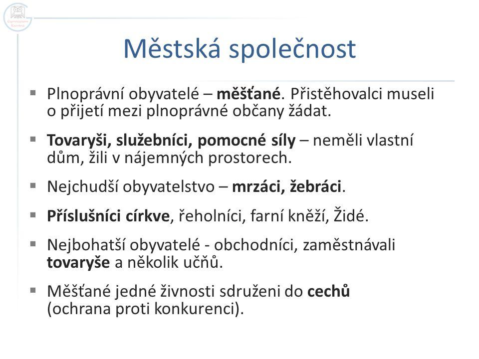 Městská společnost  Plnoprávní obyvatelé – měšťané.
