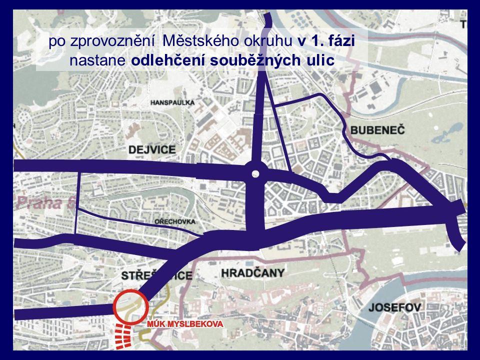 po zprovoznění Městského okruhu v 1. fázi nastane odlehčení souběžných ulic