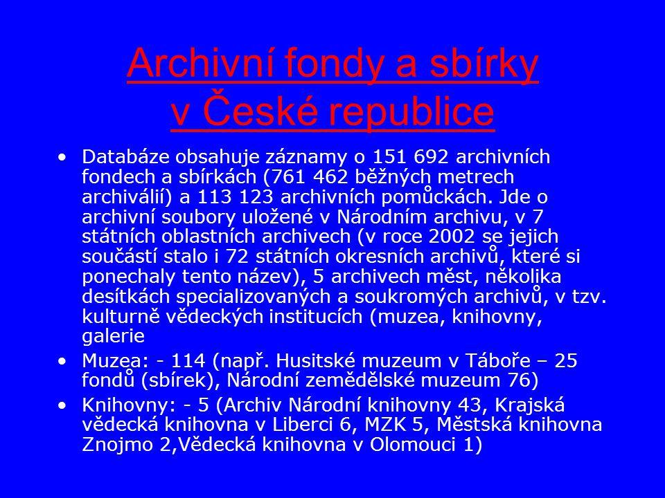 Archivní fondy a sbírky v České republice Databáze obsahuje záznamy o 151 692 archivních fondech a sbírkách (761 462 běžných metrech archiválií) a 113 123 archivních pomůckách.