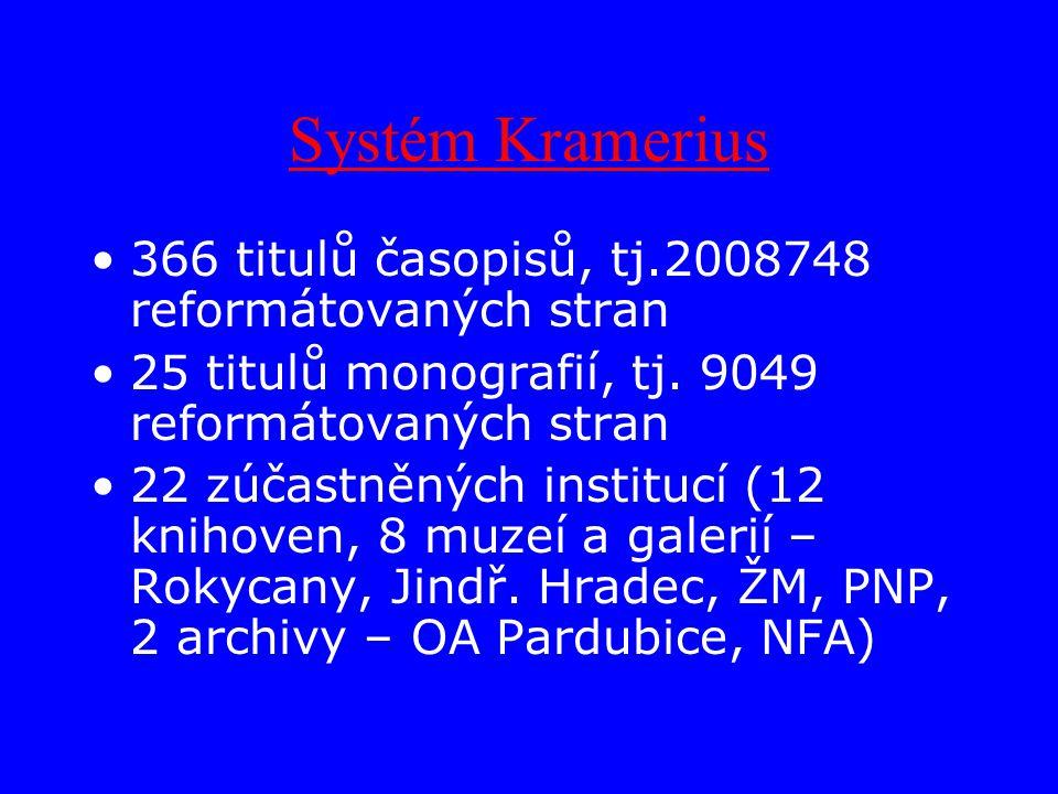Systém Kramerius 366 titulů časopisů, tj.2008748 reformátovaných stran 25 titulů monografií, tj.