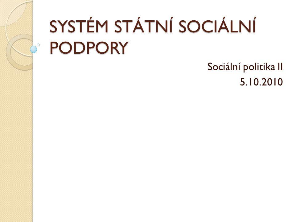 SYSTÉM STÁTNÍ SOCIÁLNÍ PODPORY Sociální politika II 5.10.2010