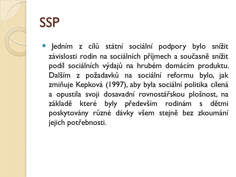 SSP Jedním z cílů státní sociální podpory bylo snížit závislosti rodin na sociálních příjmech a současně snížit podíl sociálních výdajů na hrubém domácím produktu.