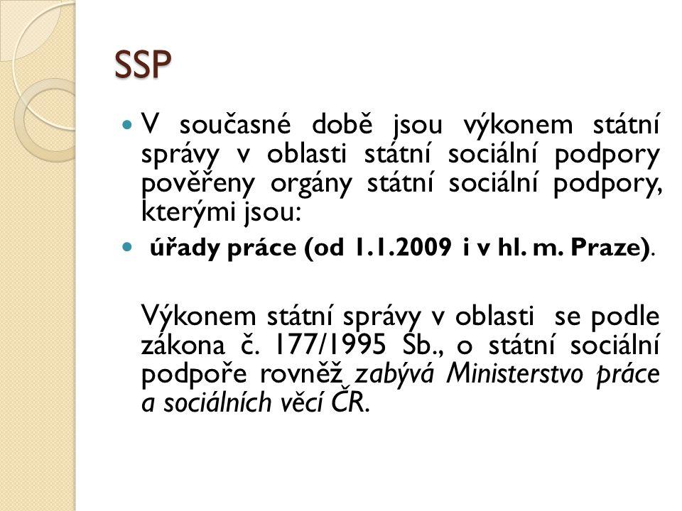 SSP V současné době jsou výkonem státní správy v oblasti státní sociální podpory pověřeny orgány státní sociální podpory, kterými jsou: úřady práce (od 1.1.2009 i v hl.
