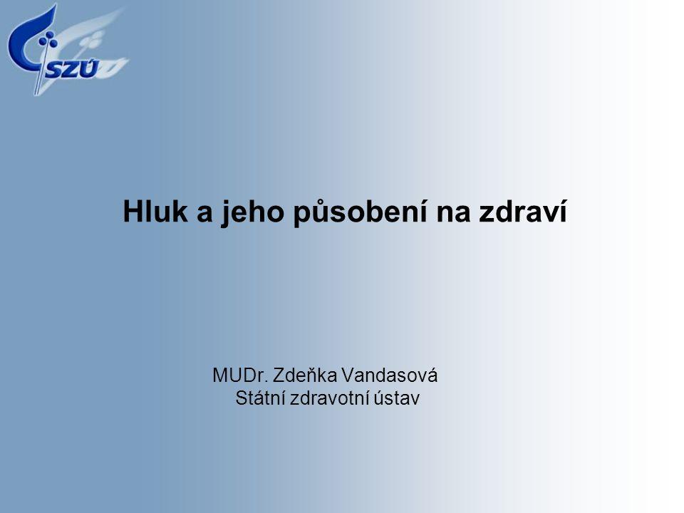 Hluk a jeho působení na zdraví MUDr. Zdeňka Vandasová Státní zdravotní ústav