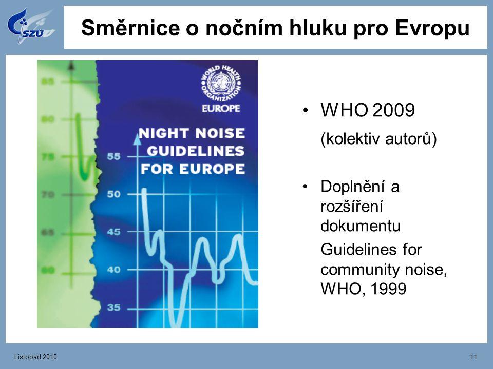 Listopad 201011 Směrnice o nočním hluku pro Evropu WHO 2009 (kolektiv autorů) Doplnění a rozšíření dokumentu Guidelines for community noise, WHO, 1999