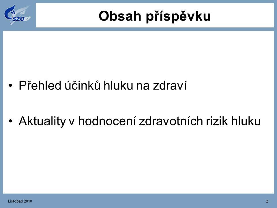 Listopad 20102 Obsah příspěvku Přehled účinků hluku na zdraví Aktuality v hodnocení zdravotních rizik hluku