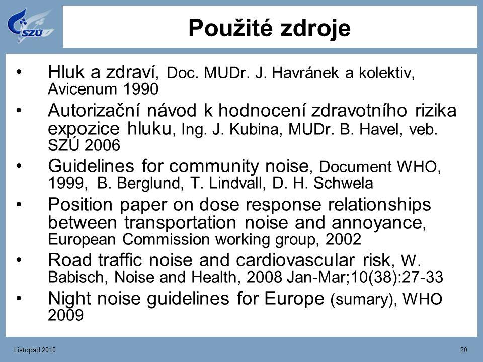 Listopad 201020 Použité zdroje Hluk a zdraví, Doc. MUDr. J. Havránek a kolektiv, Avicenum 1990 Autorizační návod k hodnocení zdravotního rizika expozi