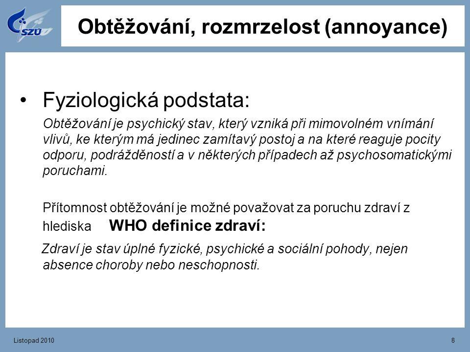 Listopad 20108 Obtěžování, rozmrzelost (annoyance) Fyziologická podstata: Obtěžování je psychický stav, který vzniká při mimovolném vnímání vlivů, ke