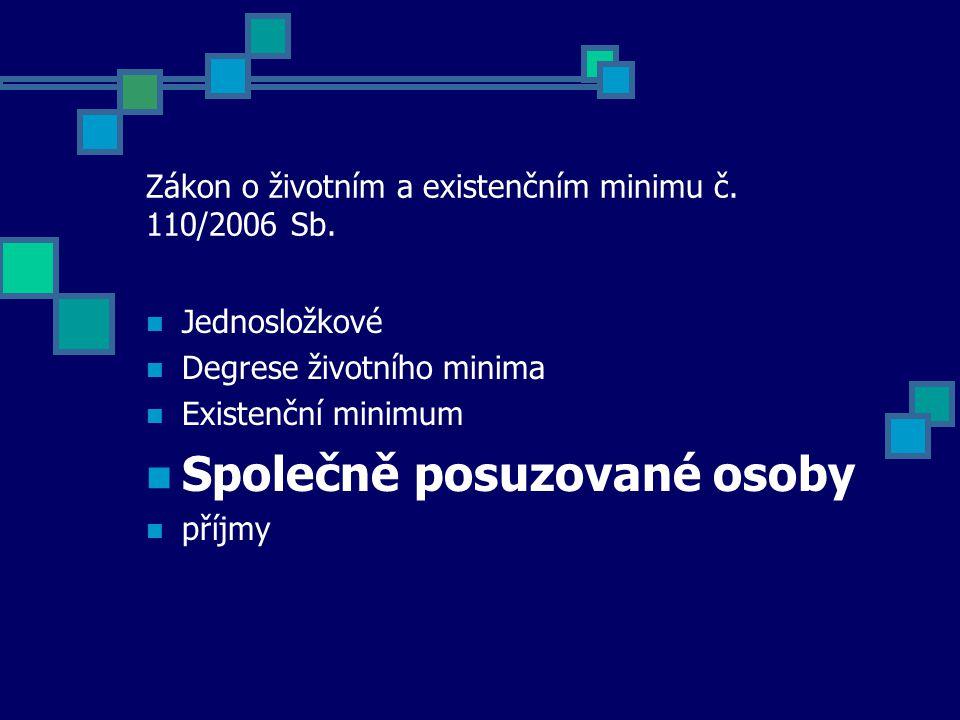 Zákon o životním a existenčním minimu č. 110/2006 Sb. Jednosložkové Degrese životního minima Existenční minimum Společně posuzované osoby příjmy