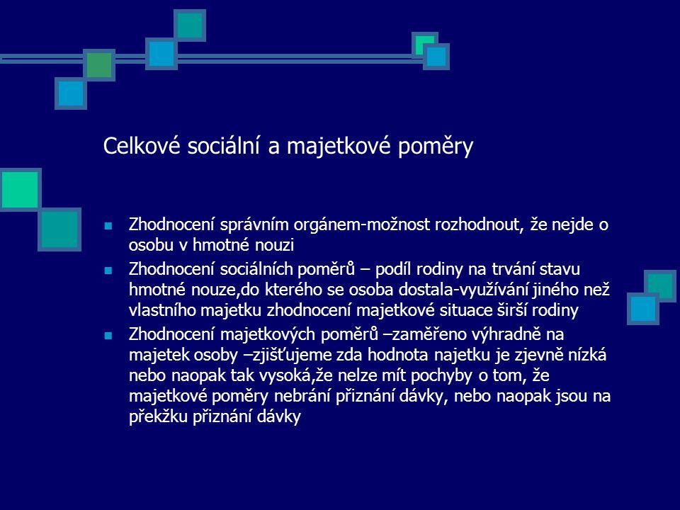 Celkové sociální a majetkové poměry Zhodnocení správním orgánem-možnost rozhodnout, že nejde o osobu v hmotné nouzi Zhodnocení sociálních poměrů – pod