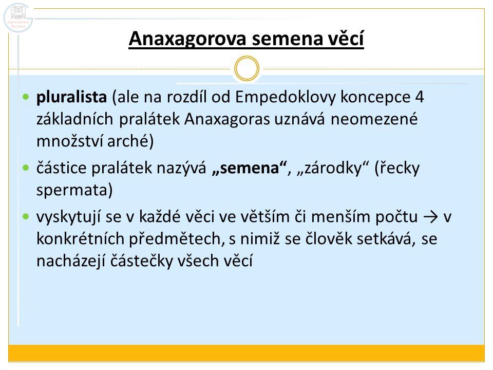 Anaxagorova semena věcí pluralista (ale na rozdíl od Empedoklovy koncepce 4 základních pralátek Anaxagoras uznává neomezené množství arché) částice pr