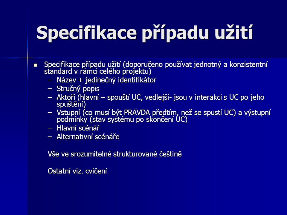 Specifikace případu užití Specifikace případu užití (doporučeno používat jednotný a konzistentní standard v rámci celého projektu) Specifikace případu