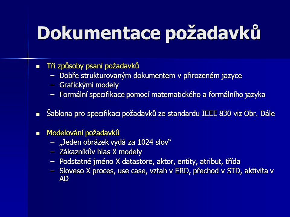 Dokumentace požadavků Tři způsoby psaní požadavků Tři způsoby psaní požadavků –Dobře strukturovaným dokumentem v přirozeném jazyce –Grafickými modely