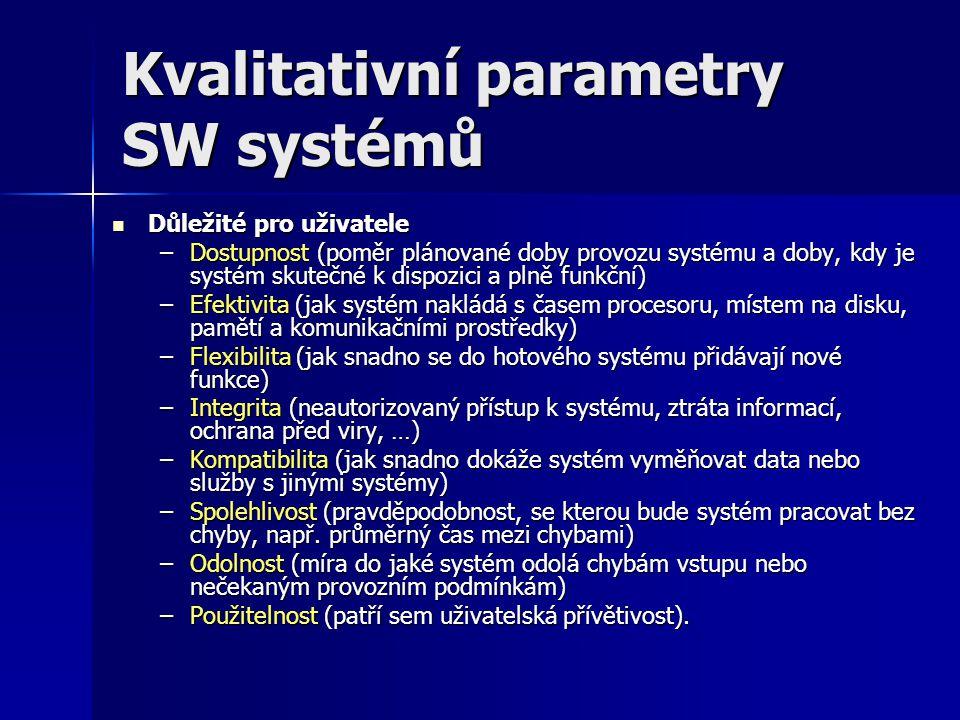 Kvalitativní parametry SW systémů Důležité pro uživatele Důležité pro uživatele –Dostupnost (poměr plánované doby provozu systému a doby, kdy je systé